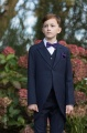 Boys Navy Tail Coat Suit with Purple Dickie Bow Set - Edward