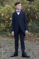 Boys Navy Tail Coat Suit with Purple Bow Tie - Edward