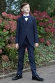 Boys Navy Tail Coat Suit with Royal Dickie Bow Set - Edward