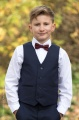 Boys Navy Trouser Suit with Burgundy Dickie Bow - Joseph