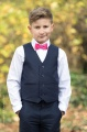 Boys Navy Trouser Suit with Hot Pink Dickie Bow - Joseph