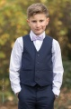 Boys Navy Trouser Suit with Lilac Dickie Bow - Joseph