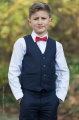 Boys Navy Trouser Suit with Red Dickie Bow - Joseph