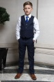 Boys Navy Trouser Suit with Royal Blue Tie - Joseph