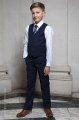 Boys Navy Trouser Suit with Striped Tie - Joseph