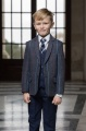 Boys Navy Trouser Suit with Tweed Jacket - Clifford