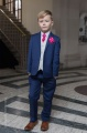 Boys Royal Blue & Ivory Suit with Hot Pink Cravat Set - Walter