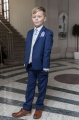 Boys Royal Blue & Ivory Suit with Lilac Cravat Set - Walter