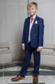 Boys Royal Blue & Ivory Suit with Poppy Red Cravat - Walter