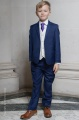 Boys Royal Blue & Ivory Suit with Purple Tie - Walter