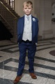 Boys Royal Blue & Ivory Suit with Silver Cravat Set - Walter