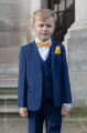 Boys Royal Blue Suit with Marigold Bow & Hankie - George