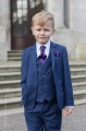 Boys Royal Blue Suit with Purple Cravat Set - George