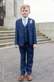 Boys Royal Blue Suit with Silver Cravat Set - George
