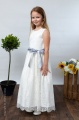 Girls Ivory Eyelash Lace Dress & Silver Satin Sash - Harriet