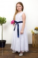 Girls White Eyelash Lace Dress & Navy Satin Sash - Harriet