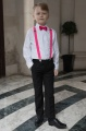 Boys Black Trouser Suit with Hot Pink Braces - Giles
