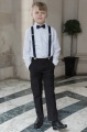 Boys Black Trouser Suit with Navy Braces - Giles