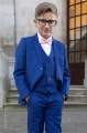 Boys Electric Blue Suit with Pale Pink Dickie Bow - Barclay