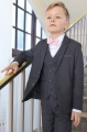 Boys Grey Jacket Suit with Pale Pink Dickie Bow - Oscar