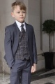 Boys Grey Suit with Orange Check Waistcoat - Tom