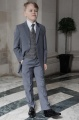 Boys Grey Tail Suit with Red Check Tweed Waistcoat - Archie