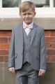Boys Light Grey Jacket Suit with Pale Pink Dickie Bow - Perry