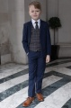 Boys Navy Suit with Orange Check Waistcoat - Ashby
