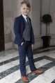 Boys Navy Suit with Blue Large Check Tweed Waistcoat - Ashby