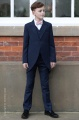 Boys Navy Tail Coat Suit with Pale Pink Bow Tie - Edward