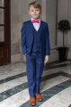 Boys Royal Blue Suit with Hot Pink Bow Tie - George