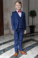 Boys Royal Blue Suit with Red Bow Tie - George
