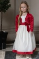 Girls Ivory with Red Bow Dress & Bolero - Sophia