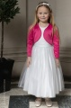 Girls White Diamanté Organza Dress with Hot Pink Bolero - Grace