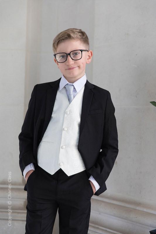 Boys Skinny Tie Boys Formal Tie Boys Elasticated Ivory Skinny Tie