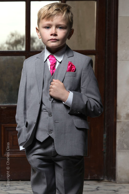 boys light grey jacket suit with hot pink cravat set perry