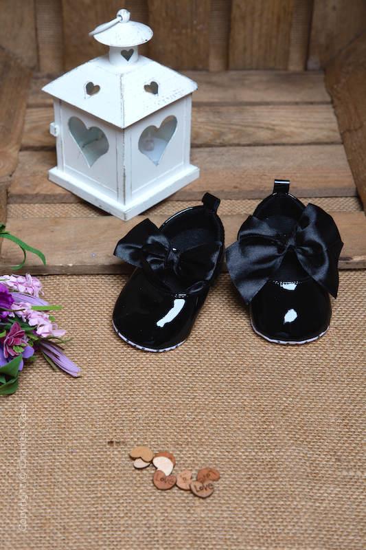 Baby Girls Black Large Bow Shiny Patent