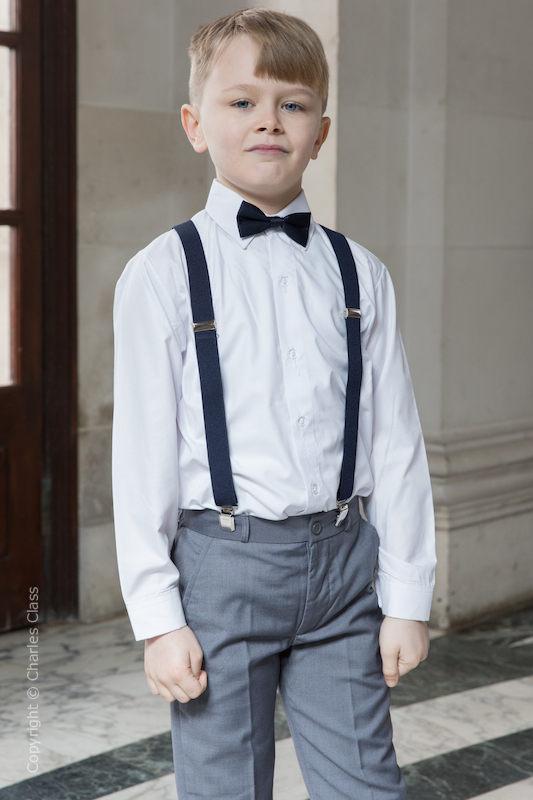 2b77fec9dd63f7 Boys Grey Trouser Suit & Navy Braces | Wedding Suit | Charles Class