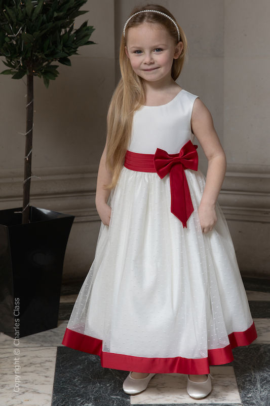 low cost classic shoes undefeated x Girls Ivory with Red Bow Flower Girl Dress - Sophia
