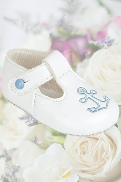 Baby Boys White with Blue Anchor T Bar Shoes by Baypods