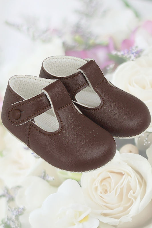 Baby Boys Brown Matt T Bar Shoes by Baypods
