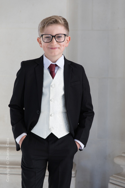 Boys Black & Ivory Suit with Burgundy Tie - Roland