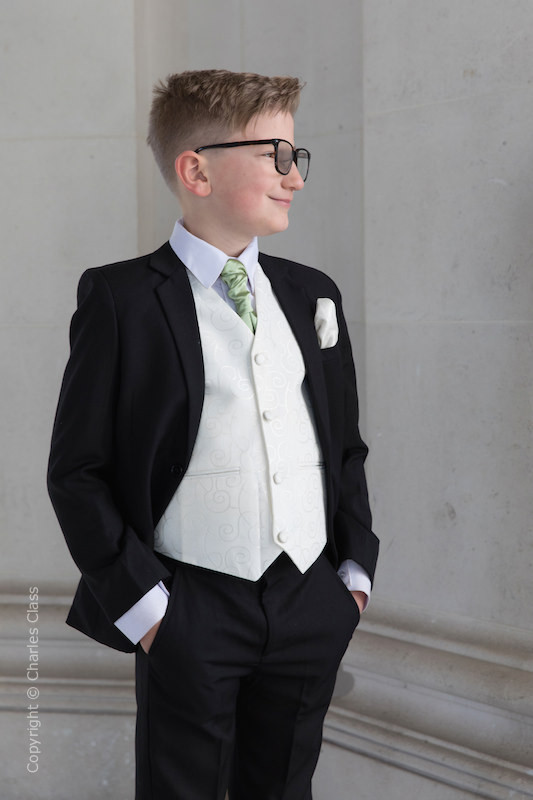 Boys Black & Ivory Suit with Mustard Green Cravat - Roland