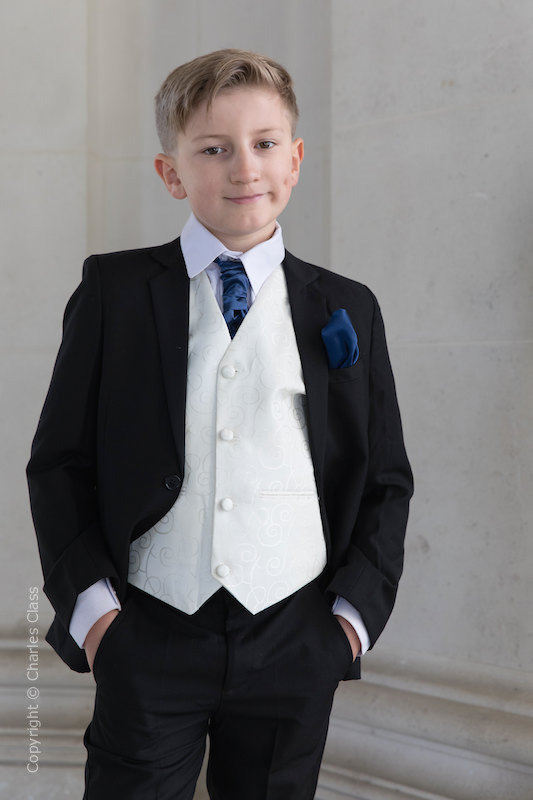 Boys Black & Ivory Suit with Navy Cravat Set - Roland