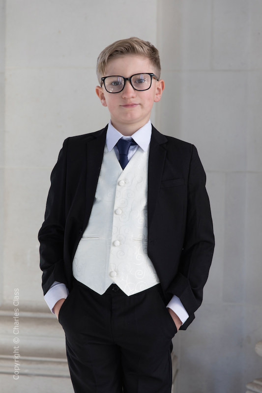 Boys Black & Ivory Suit with Navy Tie - Roland