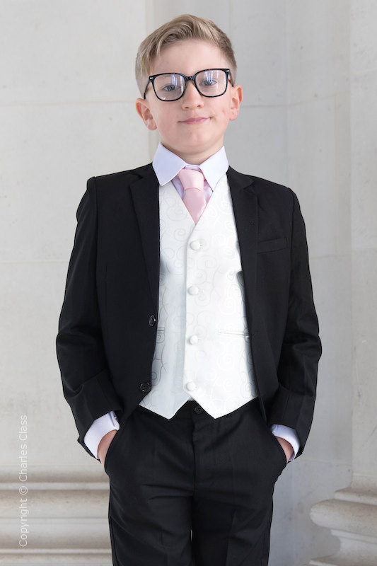 Boys Black & Ivory Suit with Pale Pink Tie - Roland