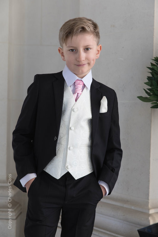 Boys Black & Ivory Suit with Baby Pink Cravat - Roland