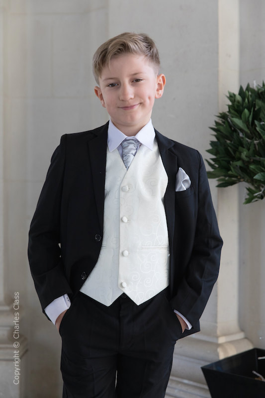 Boys Black & Ivory Suit with Silver Cravat Set - Roland