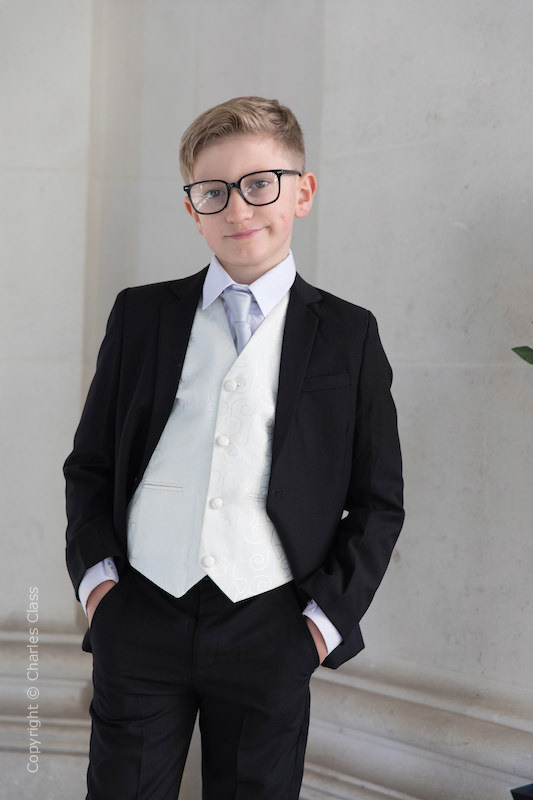 Boys Black & Ivory Suit with Silver Tie - Roland
