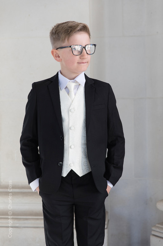 Boys Black & Ivory Suit with Ivory Satin Tie - Roland